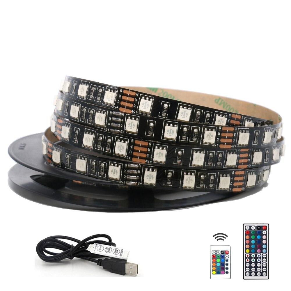 5050 RGB Tira CONDUZIDA Impermeável DC 5V USB DIODO EMISSOR de Luz Tiras de Fita Flexível 50CM 1M 2M 3M 4M 5M Com Controle Remoto Para O Fundo TV Laptop