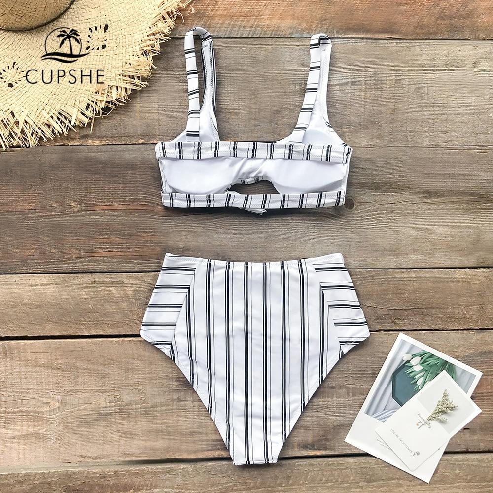 Image 4 - CUPSHE Boho Navy And White Vertical Stripe High Waist Bikini Sets 2020 Women Cutout Two Pieces SwimsuitsBikini Set   -