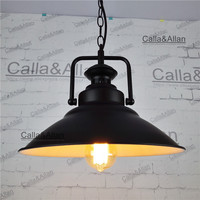 D32cm Black Iron Chain Vintage Light Fixture Loft Pendant Lamp Retro Hanging Lamp Lampshade For Restaurant