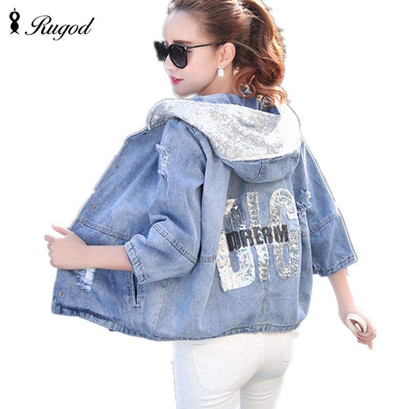 Nou moda de toamnă de toamnă Femei Denim Jachete Girls Casual Slim Ripped Hole Jeans Coat Femei Plus Size Hooded Outerwear Tops