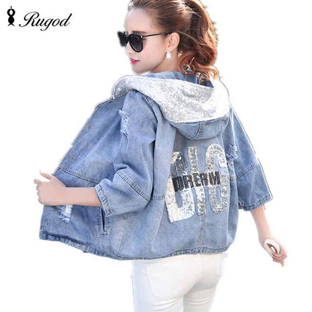 540bcd8dfa194 New Fashion Spring Autumn Women Denim Jacket Girls Casual Slim Ripped Hole Jeans  Coat Female Plus Size Hooded Outerwear Tops