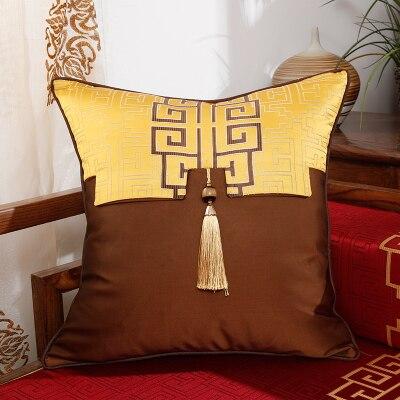 Patchwork Geometry Chinese Decorative Cushion Covers for Sofa Chair Cushion Office Home Lumbar Pillow Silk Satin Pillowcase