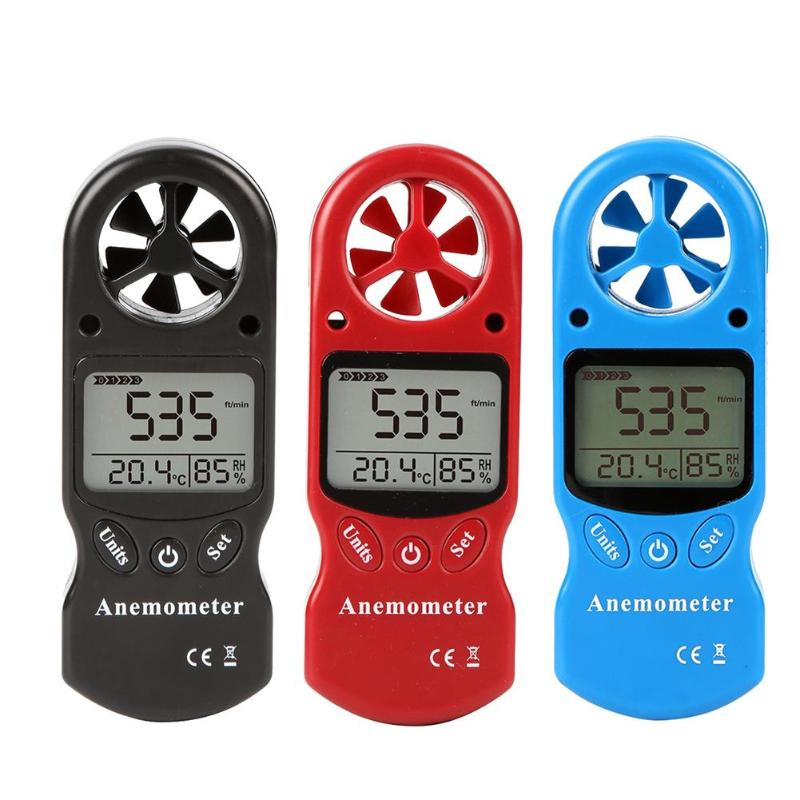 1pc 0.3 to 30m/s LCD Backlight Display Anemometer Thermometer Wind Speed Gauge Meter Windmeter Speed Measuring Instruments     - title=
