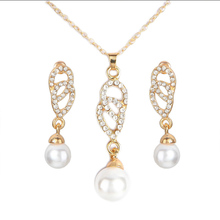 hot deal buy 2018 new imitation pearls pendant necklace suit  pendant charm female long necklace statement party jewelry earring  jewelry