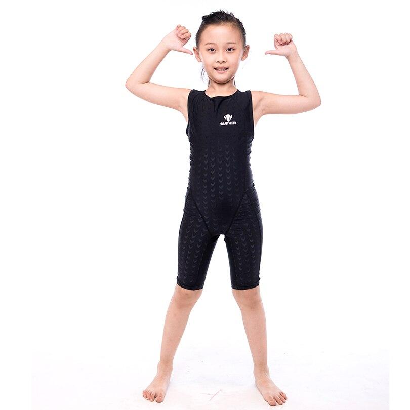 HXBY Kids Girl's Swimwear Professional Swimming Training Clothes Girl's One Piece Bathing Suit Swimwear Sleeveless Bodysuit