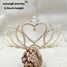2.3 pulgadas de oro rhinestone tiara nupcial de cristal dulce corazón de la boda para las mujeres