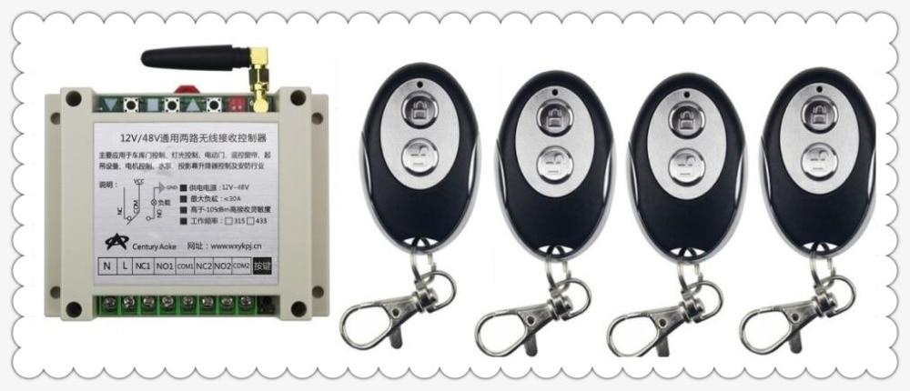 DC12V 24V 36V 48V 10A 2CH RF Wireless Remote Control Switch System 1*Receiver + 4 *ellipse shape Transmitters Learning code 24v 4 channel rf wireless remote switch control light switch system 4 ch receiver 2 transmitters in 433 92mhz