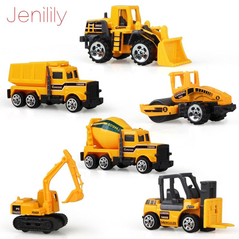 Jenilily Mini Diecast Car Construction Vehicle Engineering Car Excavator Dump Roller Truck Model Toys Lot For Children Adult