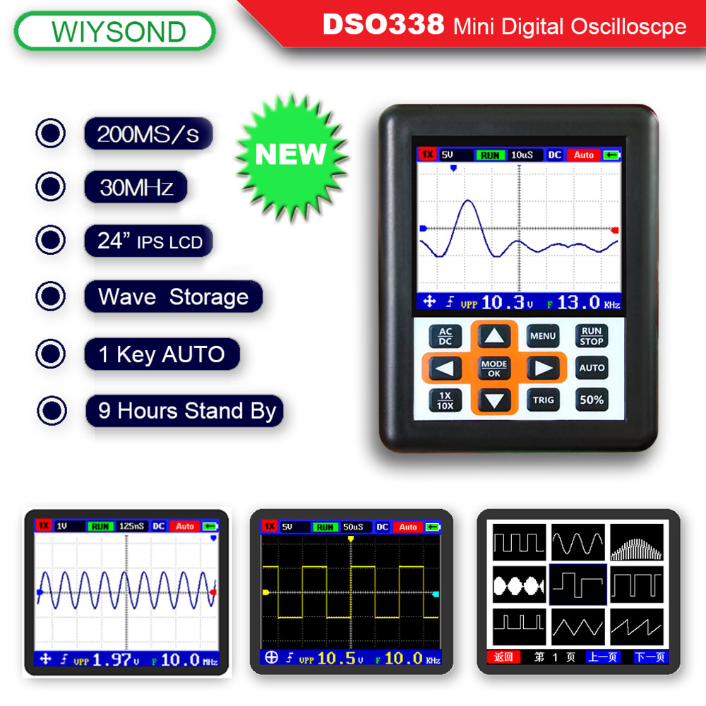 O120 DSO338 NANO PRO 30 mhz 200MSa/s Mini Tragbare Tasche-Größe Handheld IPS LCD Digitale Oszilloskop
