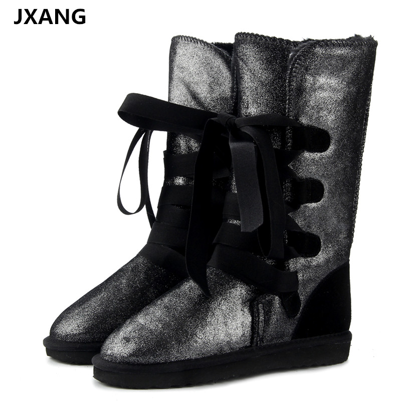 JXANG Fashion Genuine Leather fur lined women Warm Winter snow boots for lady lace-up boots black waterproof High Boots image