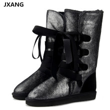 JXANG Fashion Genuine Leather fur lined women Warm Winter  snow boots for lady lace-up boots black waterproof High Boots prova perfetto sweet lace up women boots natural sheepskin leather snow boots for women real wool inside lady winter warm boots
