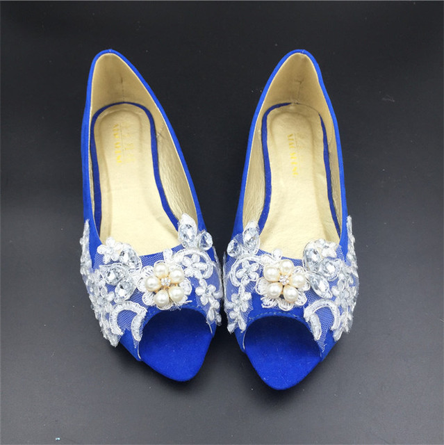 Royal Blue Wedding Party Shoes,Women Peep Toe Ballet Flats,lace Crystals Bridal  Shoes