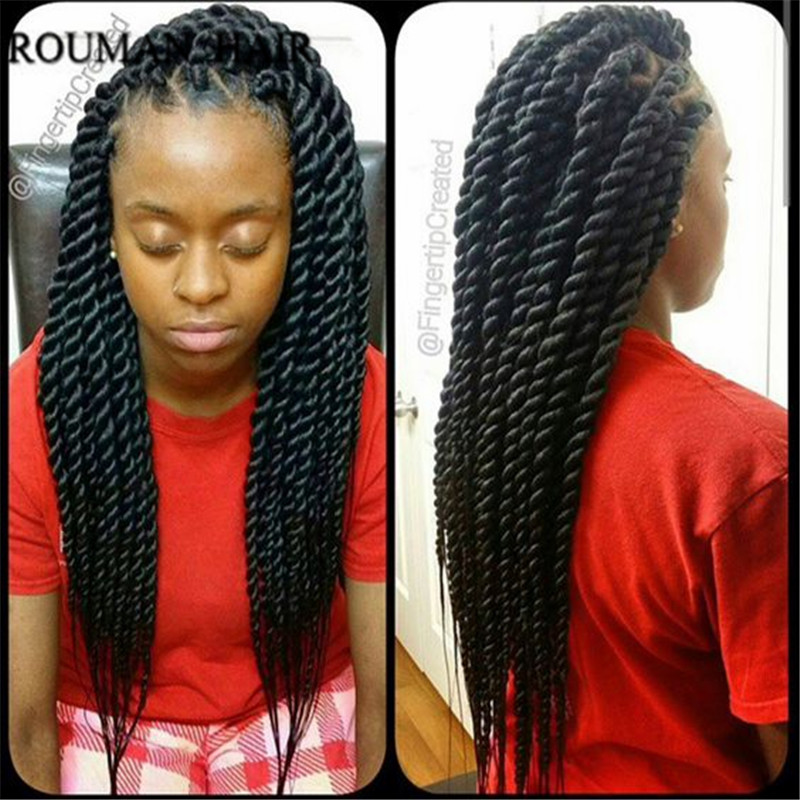 12strandpack 22inch 1250g Synthetic Twist Crochet Braids Black