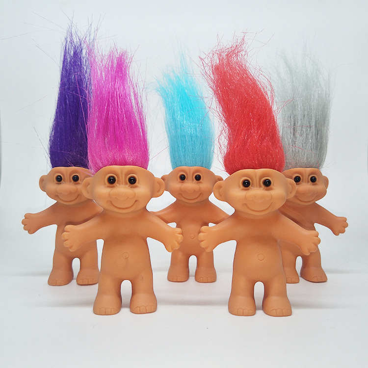 Six Eight-centimeter Tall Troll Dolls with Different Hair Colors Are Vintage Toys Made by Native American Children image