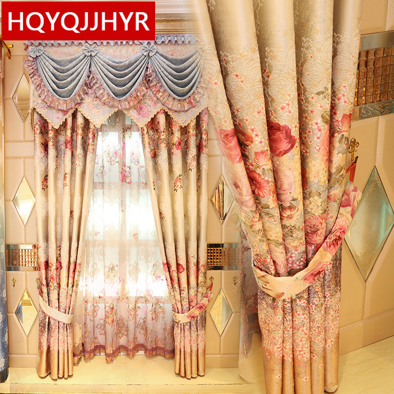 Luxury European pastoral printing Blackout font b curtains b font for living room window font b