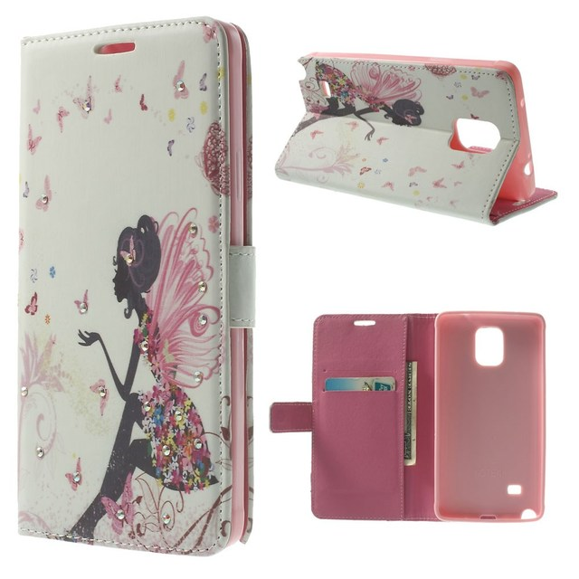 For Samsung Galaxy Note 4 SM-N910S N9100 Rhinestone Nice Girl Inlaid Leather Wallet Stand Case Free Shipping