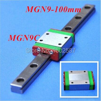 3 pièces MGN9 9mm Rail Linéaire Glissière MGN9 L-100mm long Rail + 3 pièces MGN9C Transport/Bloc De Guidage CNC Pièces Axe XYZ