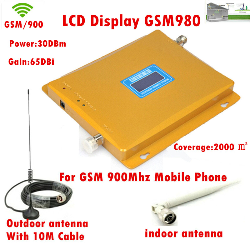 FULL SET LCD Display gsm980 GSM Booster GSM Repeater 900Mhz Mobile Signal Cell Phone GSM Amplifier With 10m Cable + Antenna