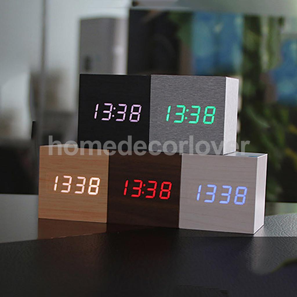 Square Digital LED Alarm Clock Acoustic Control Sensing Desk Room Temperature Meter