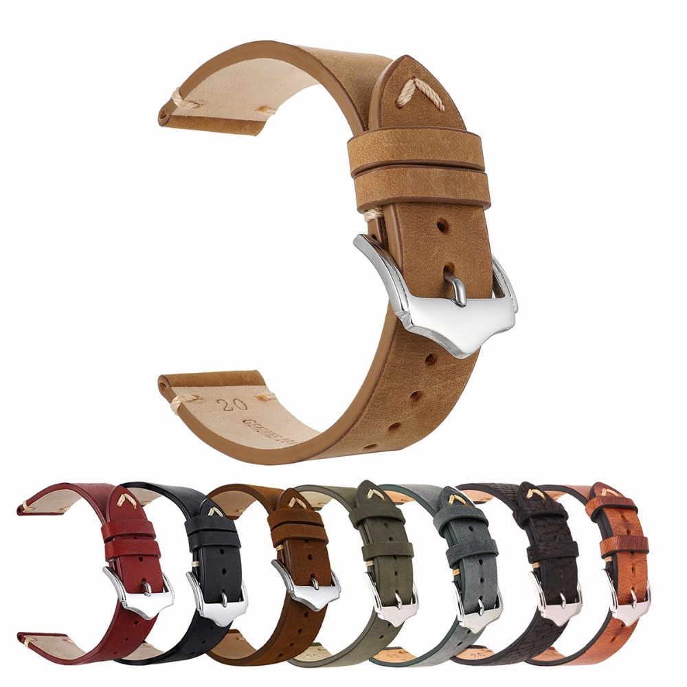 EACHE Handmade 100% Genuine Leather Crazy Horse Leather Watch Straps watch accessories brand design watchbands 20mm 22mm eache high quality crazy horse genuine leather watchband handmade watch band with speical loops different colors 20mm 22mm 24mm
