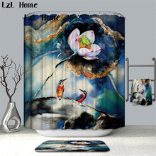 LzL Home All Kinds Of Flower Bathroom Curtain Waterproof Polyester Shower Bath Mouldproof Decor