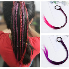 Women Ladies Braided Synthetic Hair Plaited Plait Elastic Headband Hairband Wig Vogue Cool Colorful Artificial Braids Sheadline