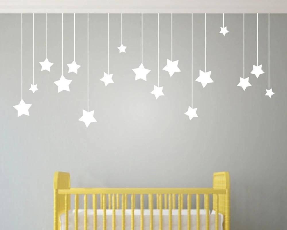 17 autocollants muraux etoiles suspendues pour chambre d enfants etoile blanche bebe stickers muraux bricolage vinyle art mural decoration de maison