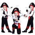 Бесплатная доставка пираты карибского моря Хэллоуин костюм для детей Пират Капитан Косплей властная мальчик пиратский костюм