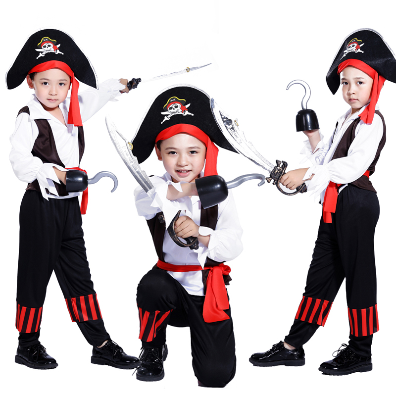 Free shipping Pirates of the Caribbean Halloween costume for children Pirate Captain Cosplay domineering boy pirate costume