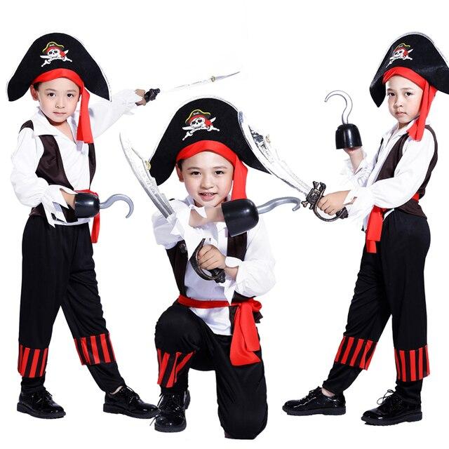 Piratas frete grátis do Caribe Capitão Pirata traje de Halloween para crianças Cosplay dominador menino traje do pirata
