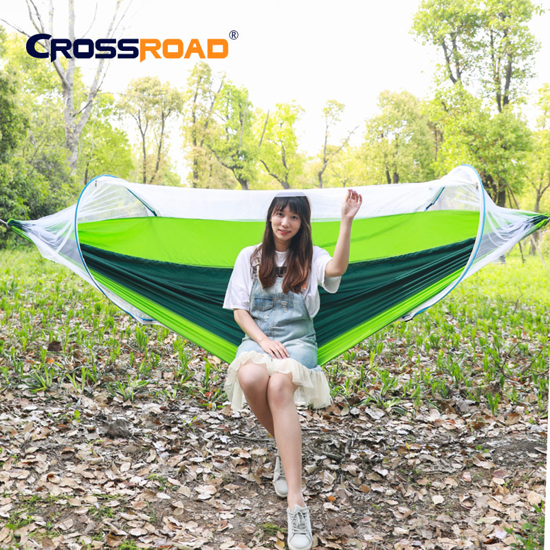 Removable Outdoor Camping Hammock With Mosquito Net 1-2 Person Parachute Garden Swing Hanging Chair Double Sleeping Bed Portable