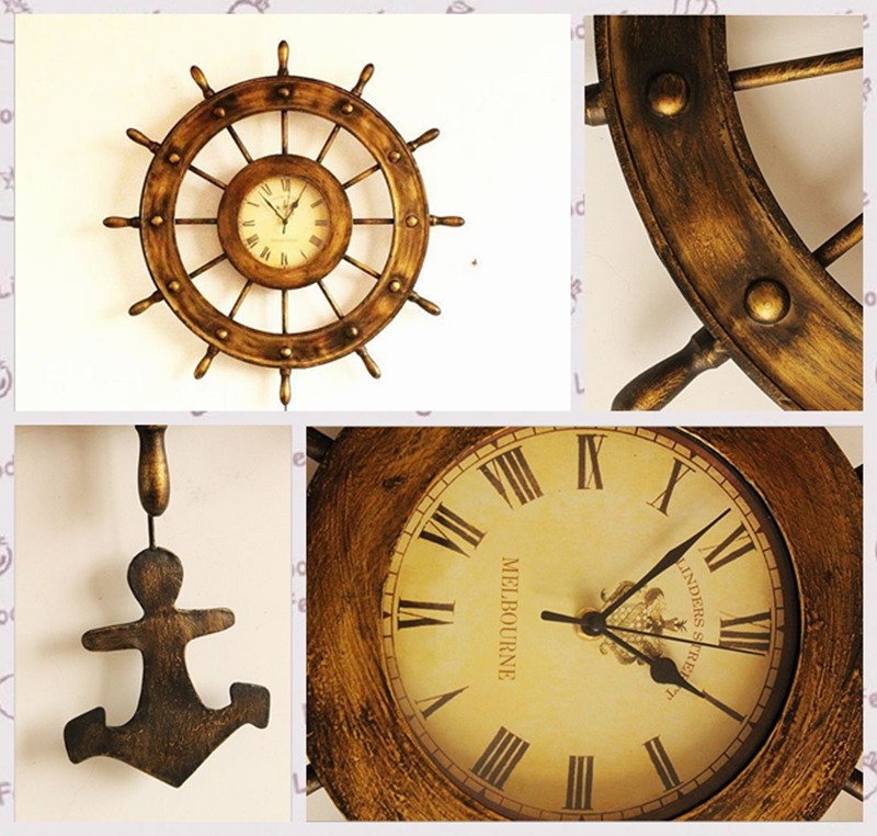 Iron crafts antique rudder clocks clocks indoor ornaments (1)