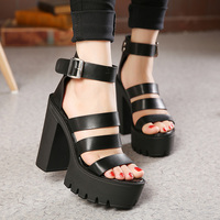 Free Shipping Summer Shoes Women White Open Toe Button Belt Thick Heel Wedges Platform Shoes Fashionable