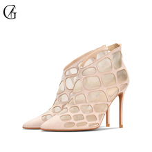 Купить с кэшбэком GOXEOU 2019 New Spring Sandals Grid Hollow Zipper Sexy High Heels Banquet Gladiator Thin- Heels-nudeHigh-heeled Sandals Free Pos