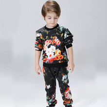 Spring Baby Boys Fashion Floral Casual Suit Outfit Children Clothing Set Boy Long sleeve Tops Pant
