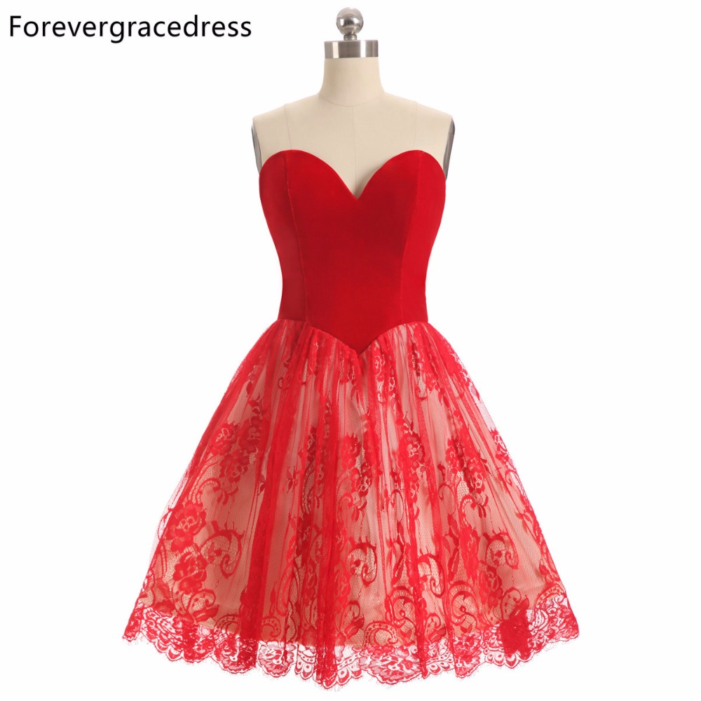 Forevergracedress 2018 A Line Red Color Lace Cocktail Dress Sexy Sleeveless Sweetheart Short Party Gown Plus Size Custom Made