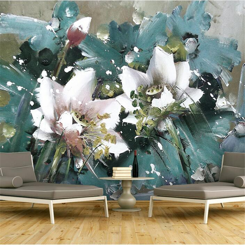 Customize Wallpaper Murals Flowers Oil Painting 3d Wallpaper Living Room Embossed TV Background Restaurant Study Bedroom Kitchen spring abundant flowers rich large mural wallpaper living room bedroom wallpaper painting tv background wall 3d wallpaper
