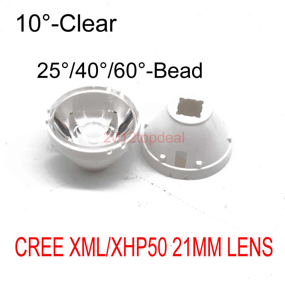 "1 יחידות LED CREE XML XML2 LED XHP50 LED עדשת 21 מ""מ מחזיק לבן 10/25/45/60 תואר LED עדשה/רפלקטור Collimator"