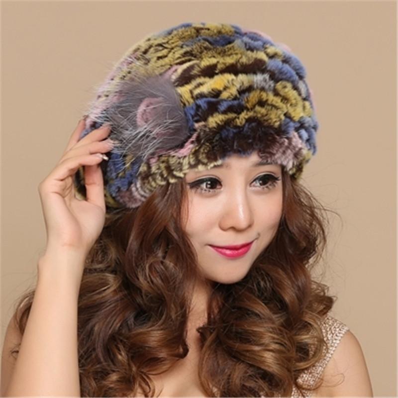 Rex arnab beret wanita musim sejuk kulit cape kelinci topi bulu topi - Aksesori pakaian - Foto 6