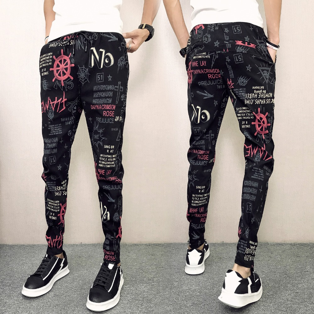 Graffiti printed Joggers Pants Men Hip Hop Sweatpants Slim Fit Trouser Homme Streetwear Pencil Pants 2018 Men Clothes