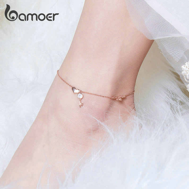 Bamoer, серебряные браслеты для женщин с сердечками, розовое золото, браслеты на цепочке для ног, ювелирные изделия для женщин, аксессуары BST001
