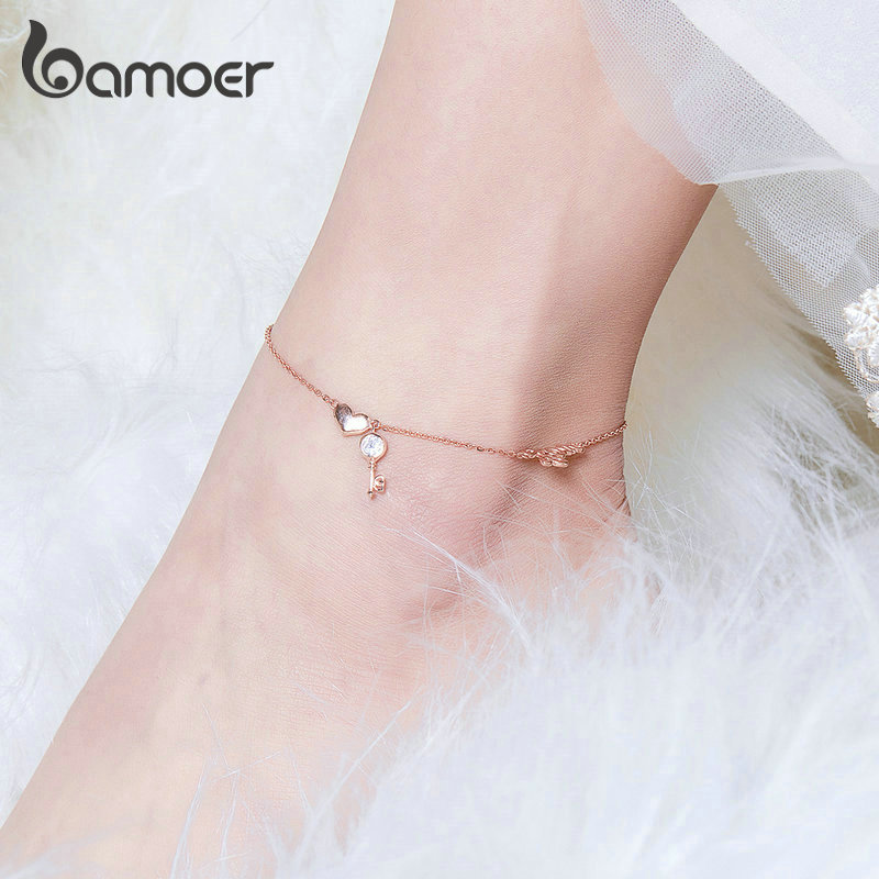 bamoer Love Key Heart Silver Anklets for Women Rose Gold Color Chain Bracelets for Leg Foot Jewelry Femme Accessories BST001