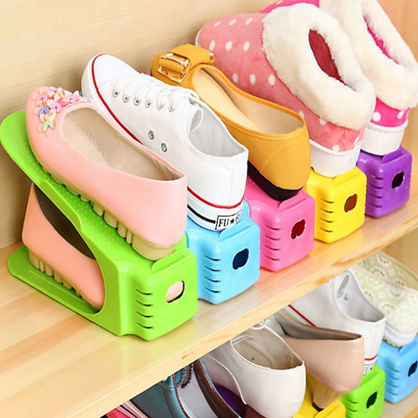 Simple Shoes Rack Solid Color Plastic Double Adjustable Layer Stereo Receive Shoes Storage Hanger Saves Pace  HG99