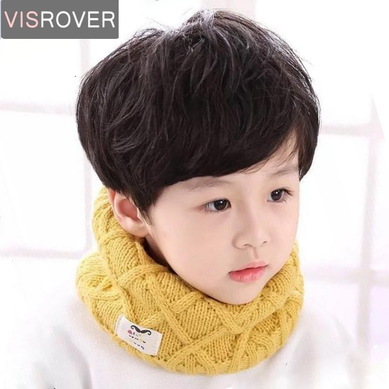 VISROVER Girls Boys Knitted Lic Scarf Baby Kids Snood Ring Infinity Cashmere Scarfs Loop Neck Circle Warm Scarves Neckerchief