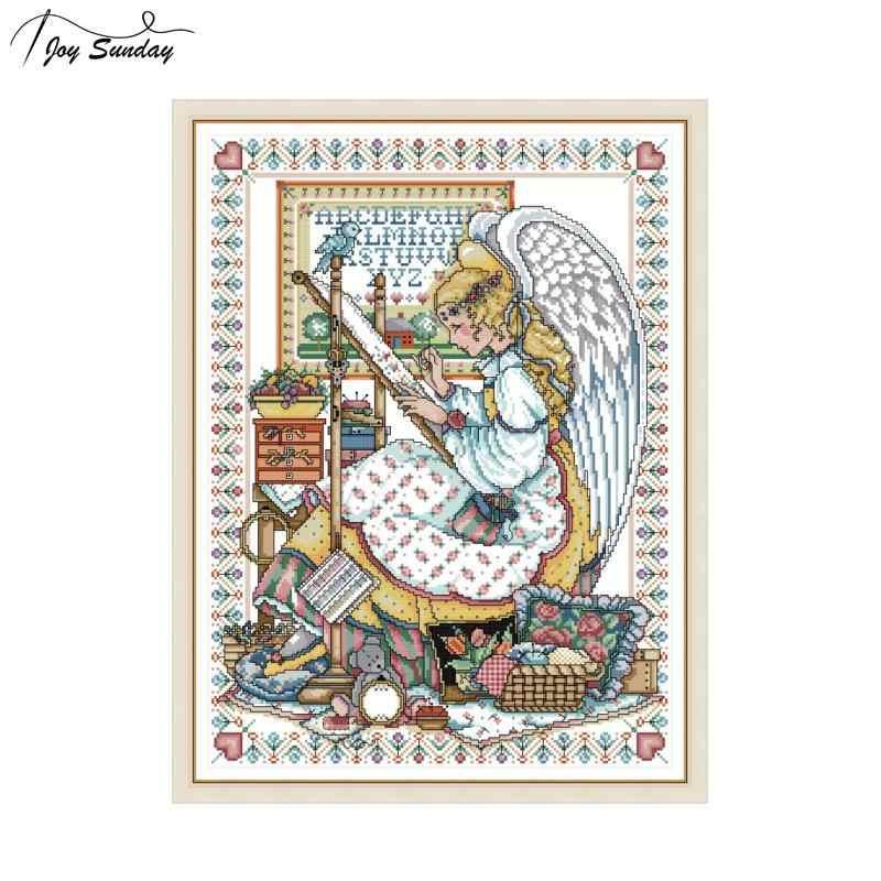 Joy Sunday Cross Stitch Patterns Angel Embroidery 11ct 14ct Printed Canvas DMC Threads for Cross Stitching DIY Hand Needlework