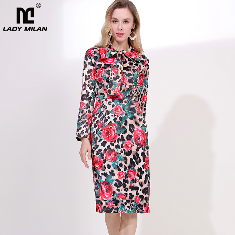 2019 Women s Runway Designer Dress Bow Collar Long Sleeves Leopard Floral Printed Fashion Casual Dresses