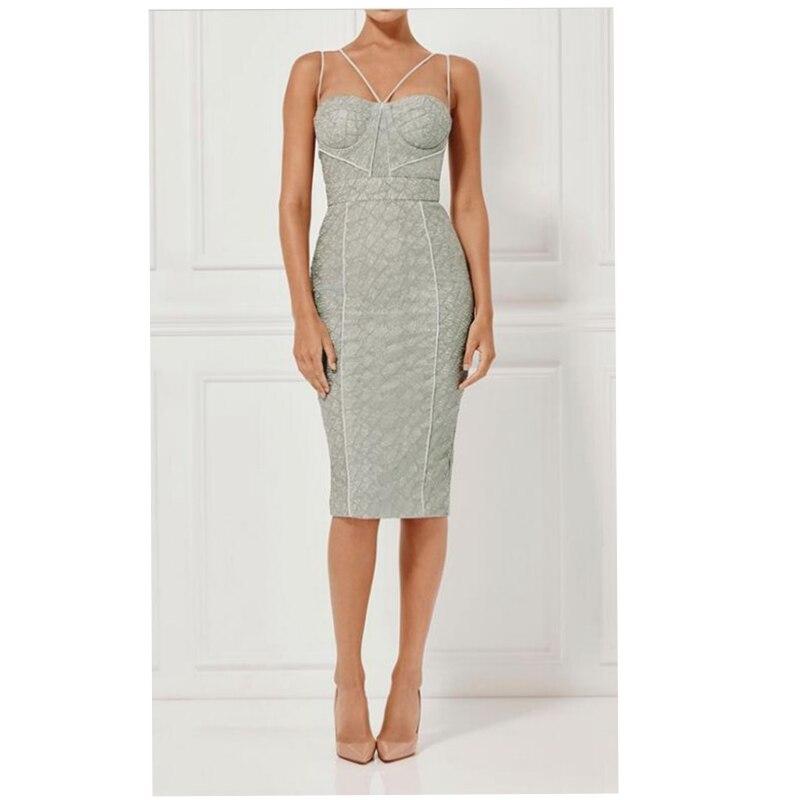 New Trend Grey Dress Women 2017 Spaghetti Strap Dresses Bodycon Royal Vestidos de festa Special Occasion