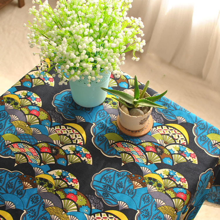 Japanese classical style traditional dining tablecloth Japanese fan decor Cotton lace tablecloth