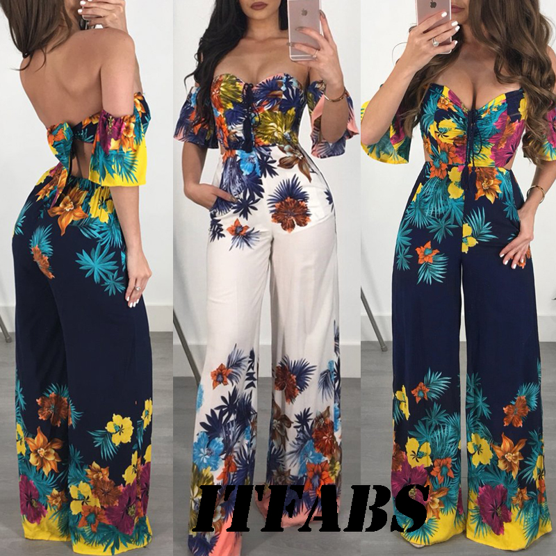 Fashion Women Boho Bodysuits   Jumpsuits   2018 Off Shoulder Strapless Print Casual Playsuit Party Beach Holiday Clubwear Clothes