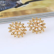 Crystal Stud Earrings For Women 2017 Fashion Gold Zircon Earring Jewelry Stud Earring Round Female Wedding Girls Stud Earrings